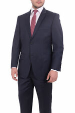 Giorgio Cosani Regular Fit Solid Navy Blue Two Button Wool Suit