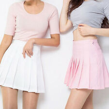 HOT Women Girl Tennis High Waist Plain Flared Pleated Short Mini Skirt Shorts