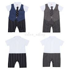 Newborn Baby Boys Striped Romper Formal Suit Wedding Party Tuxedo Gentleman