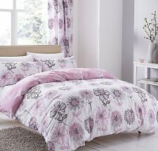 Catherine Lansfield Banbury Floral Flowers Pink Duvet Quilt Cover Set Bedding
