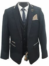 MENS MARC DARCY 2 PIECE BLAZER & WAISTCOAT FORMAL DRESSY GLEN - NAVY BLUE