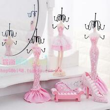 Pink Lace Shoe Dress Mannequin Ring Necklace Jewelry Organizer Display Stand
