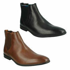BAMPTON TOP MENS CLARKS LEATHER POINTED SLIP ON FORMAL WORK CHELSEA BOOTS SHOES