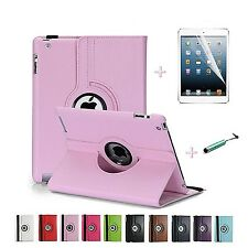 Leather Stand Screen Protector Case 360 Rotating for Apple iPad 2 iPad 3 iPad 4