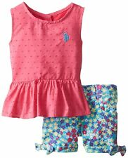US Polo Assn. Childrens Apparel U.S. Baby Girls Swiss Dot Peplum Top