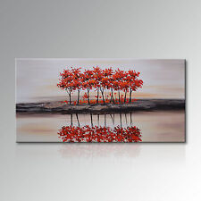Landscape Canvas Wall Art Red Tree Artwork Hand Painted Oil Painting Modern Deco