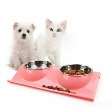 NEW Stainless Steel Pet Dog Cat Puppy Dual Feeder Food Bowl Water Dish w/ Holder