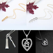 Charm Heart Long Necklace Crystal Pet/DNA/Toothbrush Pendant Chain Jewelry Gift