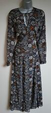 NWT New MARKS and SPENCER M & S Per Una Black Vintage Floral Long Maxi Dress 10