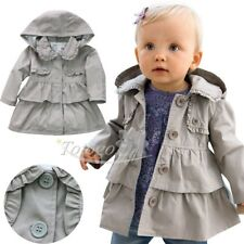 Baby Girls Toddler Winter Warm Trench Wind Coat Kids Hooded Outerwear Jacket