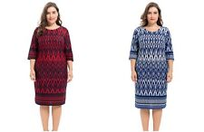 Chicwe Women's Border Zigzag Designed Stretch Cashmere Touch Plus Size Dress