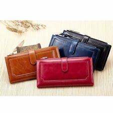 Women Oil Wax Snap Folded Leather Wallet Bag Case Clutch Card Coin Holder Purse#