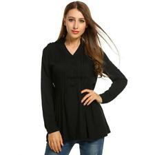 Women V-Neck Roll Up Long Sleeve Half Button Solid Pleated Tunic Tops SO6H