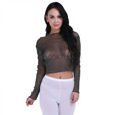 Fashion Summer Women Mesh Long Sleeves Crop Top Slim Fit Shirts Clubwear
