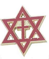 Crhritian  Enamel Badge Lapel Pin Star of David with Cross Messianic