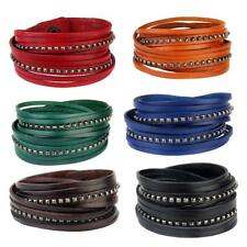 Multilayer PU Leather Wrap Wristband Cuff Punk Alloy Rivet Bracelet Bangle