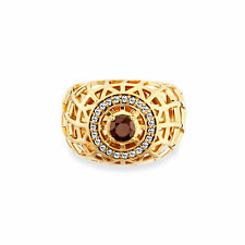 Cai Women Gold Plated Sterling Silver Smoky Quartz Ring