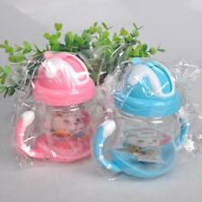 UK Baby Non-Spill Silicone Sippy Cup Kids Handles Straw Trainer Drinking Bottle