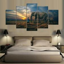 Elephant Mom & Baby Painting Abstract Modern Poster Canvas Wall  Art Home Decor
