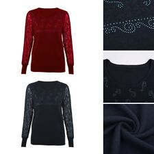 Sexy Women Floral Lace Slim Round Neck Long Sleeved Casual Tops Blouse Outwear