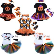 3PCS Baby Girls Flower Romper Dress Tutu Headband Halloween Outfits Clothes Set