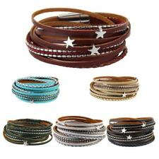 Multilayer Wrap PU Leather Braided Cuff Bracelet Wristband Men Women Bangle
