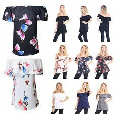 Womens Plain & Printed Off Shoulder Ruffle Top Ladies Short Sleeve Fancy T-Shirt