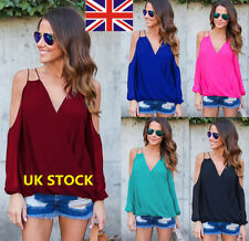 UK Women Off Shoulder V Neck Tops Summer Long Sleeve Shirt Casual Chiffon Blouse