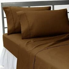 Chocolate Solid Egyptian Cotton 1000TC UK Bedding Linen Collection All Sizes