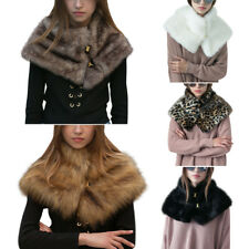 Winter Faux Fur Womens Warm Wrap Scarf Cape Stole Shawl Bolero Cloak White Shrug