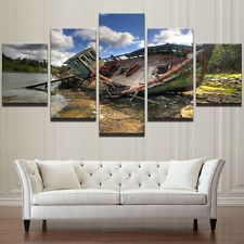 Fishing Boat Seascape Abstract Prints Modern Canvas Picture Wall Art Home Decor