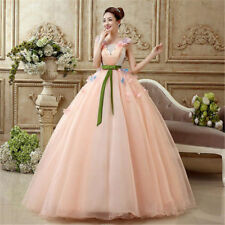 Pink Sweetheart Flower Organza Wedding Party Pageant Evening Dress Ball Gown New