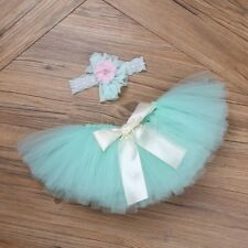 Newborn Baby Girls Tulle Tutu Skirt Flower Headband Photo Prop Costume Outfit