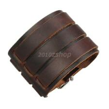 Leather Cuff Three Buckle Bracelet Wide Band Men''s Punk Style Accessory