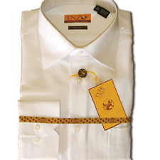 ENZO Egyptian Soft Cotton Dress Shirt Barrel Cuff Wrinkle Free White Slim Fit