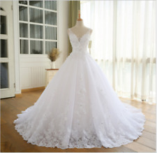 New White Ivory Lace Wedding Dress Bridal Gown custom Beaded Sleeveless Dress