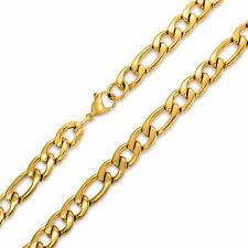 Bling Jewelry Mens Stainless Steel Figaro Chain Necklace Gold Plated 11mm