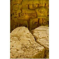 Poster Print Wall Art entitled Belize, Caracol, stone carvings of Altar 12,