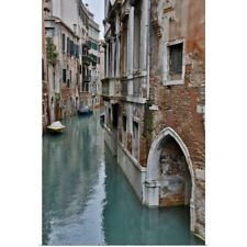 Poster Print Wall Art entitled Canal and Bridges with boats, Venice, Italy