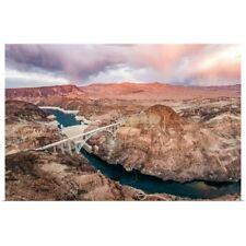 Poster Print Wall Art entitled Aerial View of the Hoover Dam and Bridge