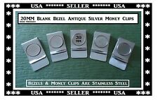 Blank Antique Stainless Steel Money Clips 20MM Blank Bezel Tray Gift Strong Clip