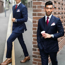 Newest Blue Striped Men's Suit 3Pc Groom Tuxedos Wedding Guest Party/Work Custom