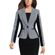 Womens Fashion Slim Plaid Suit Blazer Jacket Coat Casual One Button Tops Outwear