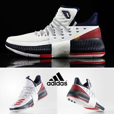 Adidas D LILLARD 3  White Navy Red BY3762 Size 4-11 Basketball Shoes Sneakers