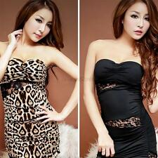 Women Sexy Off-Shoulder Party Cocktail Mini Dress Leopard Black Babydoll Dresses