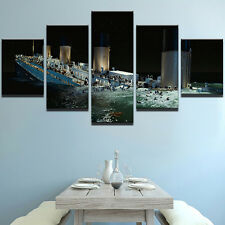 Titanic Ship Seascape Modern Abstract Poster Painting Canvas Wall Art Home Decor