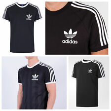 Adidas Mens Trefoil California Tees Crew Neck Retro Black T Shirts UK S M L XL