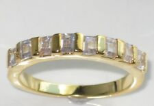 BN141 EMERALD CUT WOMENS SIMULATED DIAMOND ETERNITY  RING  18KT GOLD PLATED