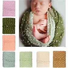 Newborn Baby Stretchy Cocoon Mohair Wrap Swaddle + Headband Photography Props