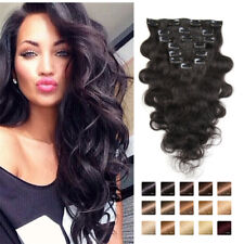 "100% Real Clip In Body Wave Human Hair Extensions 70g 16-28""Body Wave Human Hair"